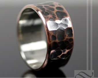 Rustic Copper band with Sterling Liner