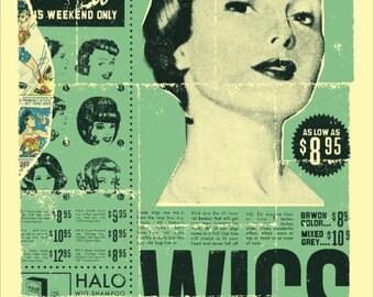 """Vintage Women's Wig Print 12"""" x16"""" Matte"""