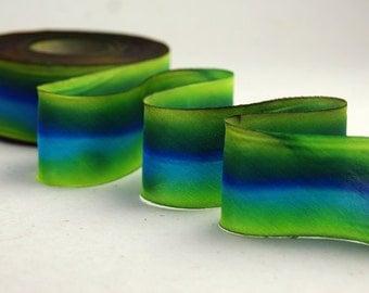 "Hand Dyed Silk Ribbon 12mm 1/2"" Blue/Green Blend 017 - 3 yards Bias Cut"