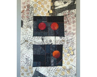 Abstract Moon Art Quilt Collage Wall Hanging Mid Century Modern Abstract Expressionism Embroidery Silkscreen