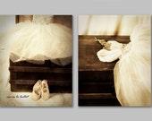Set of 2 Ballet Dress Photographs - 20% Off - little girls room sepia brown white antique trunk nursery decor 8x10