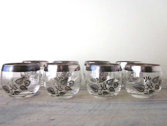 Georges Briard Silver Trim Roly Poly Cocktail Glasses Set of Eight Barware