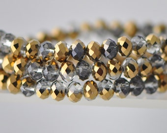 95pcs Rondelle Crystal Glass Faceted Beads 4x6mm Gold -(BZ06-45)