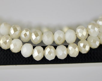 Faceted Rondelle Crystal Glass Beads 6x8mm White Champagne- BZ0892/ 70pcs