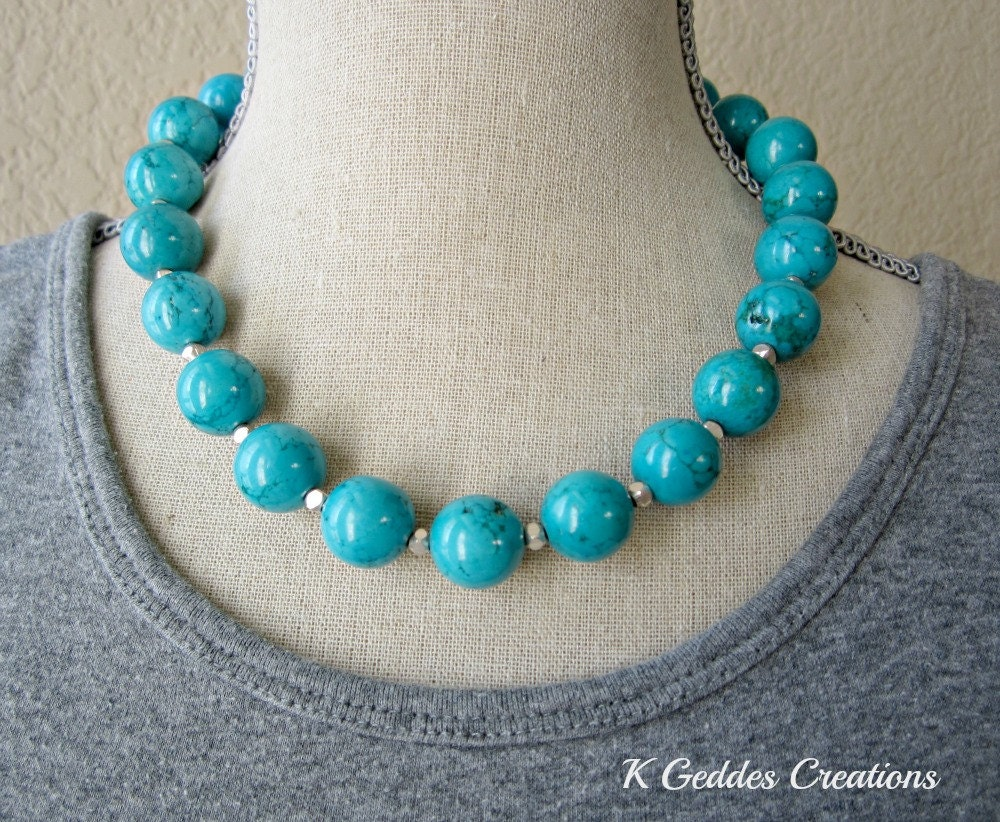 chunky turquoise necklace bali sterling silver blue turquoise