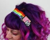 Nyan Cat Rainbow Headband, Pixel Rainbow, Kitty