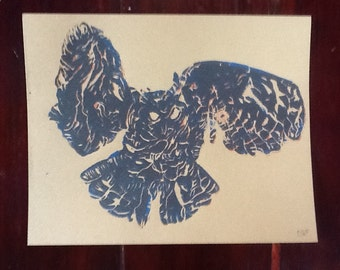 Owl Linocut Print, Hand Pulled, 8x10 Inches, Cardstock