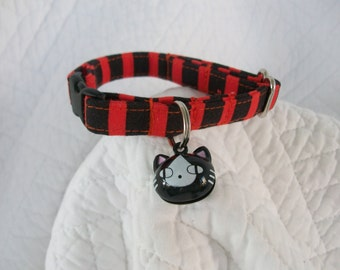 Black and Orange Stripe with cat  bell   Breakaway Collar Custom Made