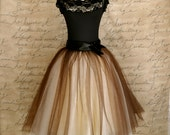 Tulle skirt for women. Brown and ivory tutu with wide black satin ribbon waist. Tutus Chic classic women's tutu skirt.