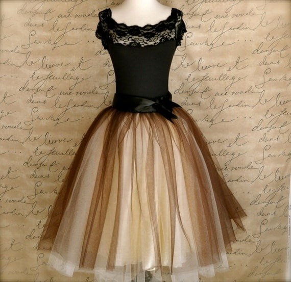 items similar to tulle skirt for brown and ivory