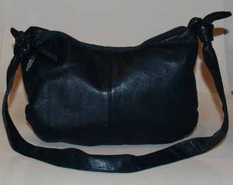 Vintage 80s Leather Purse Navy Blue Med