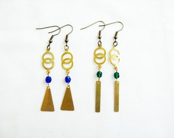 Infinity Geometric Earrings, Brass Dangle Earrings, Boho Earrings, Festival Jewelry