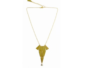 Geometric Brass Necklace, Brass Bib Statement Necklace, Triangles necklace