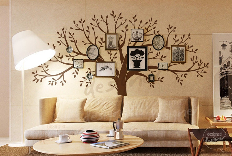 Living room wall decals tree wall decal wall by designeddesigner