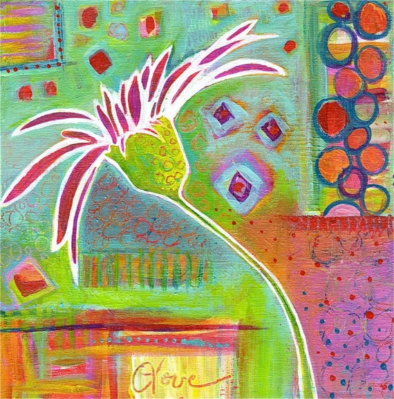 "Whimsical Gerber Daisy giclee print ""SUMMER ZEST"""