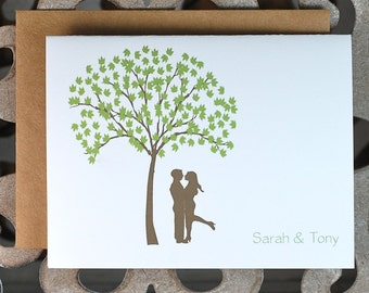 Wedding Thank You Cards, Thank You Cards, Bridal Shower Thank You Cards, New Couple, Trees, Thank You Notes, Affordable Wedding, Silhouette