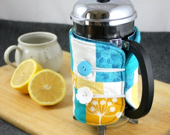 SALE!!  French Press Coffee Cozy in Teal, Yellow and White by Nstarstudio
