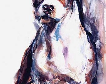 Staffidshire Terrier  -Am Staff - amstaff - Watercolo Fine Art Dog Print SIGNED by the Artist Carol Ratafia  DOUBLE MATTED To16X20