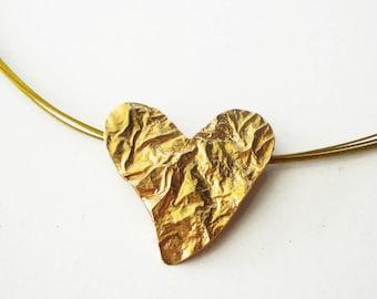 24K gold plated bronze heart - gold heart