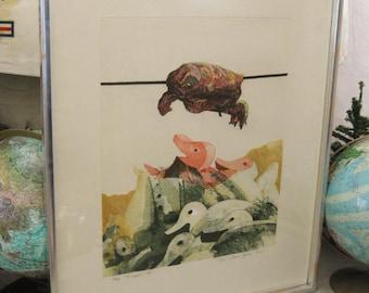 Vintage Original Fine Art Print, Danish, Kosan School, Surreal, Turtle, Ducks, Fine Art Etching, Denmark, European, Wild Life, Wall Decor