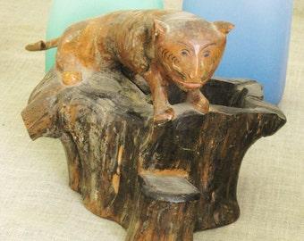 Folk Art Carving , Antique , Hand Carved , Folk Art , Figurative Bowl , Folk Art Animal , Animals , Handmade , Cat , Feline , Primitive