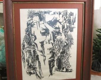 Vintage Mid-Century Male Portrait, Fine Art Wood Cut Print, Fine Art, Portraiture, Original, E. F. de Soto, Wil Shepherd, Framed