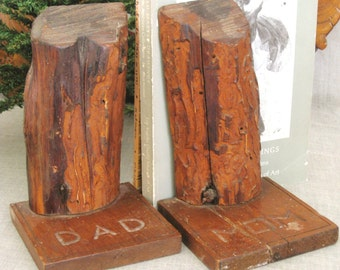 Vintage Folk Art Bookends, Hand Carved, Handmade, Library, Rustic Decor, Mom and Dad, Parents, Primitive, Cabin, Lodge, Devotional