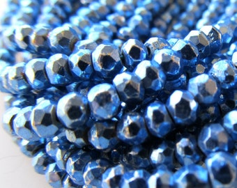 Metallic Sapphire Blue Coated Pyrite Beads 4 X 2mm Fools Gold Rondelles - 14 inch Strand