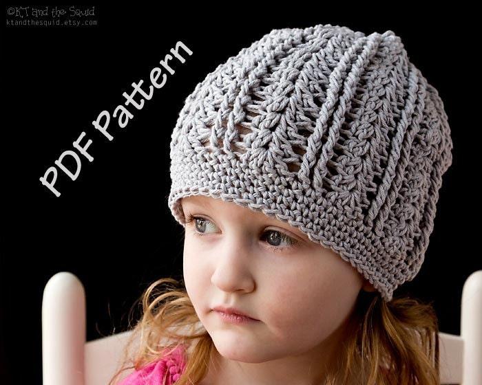 Instant download crochet hat pattern cotton slouchy hat