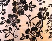"Vintage Black Hibiscus on White Hawaiian Fabric, 36"" x 145"", Over 4 Yds"
