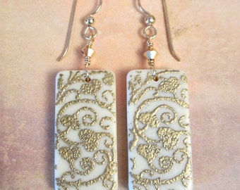 Domino Earrings - Gold Hearts and Scrolls Earrings - Gold Earrings