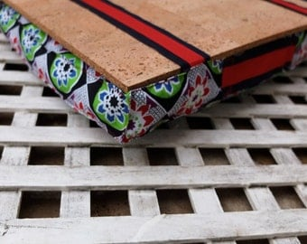 Ethnic Lap desk, laptray with african fabric, Original Mother's day gift, cork tray and filling - use as serving tray or computer table