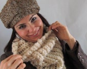 Neckwarmer Crochet scarf ,circle scarf, woman scarf gift crochet scarf,vanilia scarf
