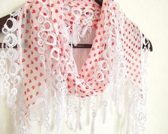 heart scarf - scarf accessories- chiffon scarf -white scarf- scarf sale- scarf shop-woman scarves
