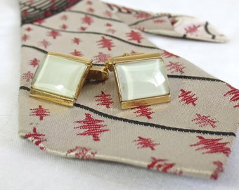 Vintage 1950's-1960's SWANK Cufflinks - Gold & White Man's Retro Accessory