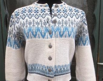 Vintage 1950's JERSILD Nordic-style Wool Cardigan Sweater-Bolero Cut w/Mirrored Buttons