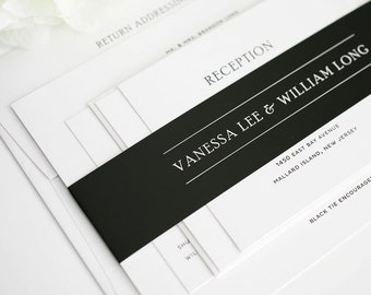 Wedding Invitation, Black and White Wedding Invitation, Simple Elegance - Deposit to Get Started