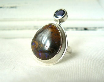 ooak Sterling silver, Boulder Opal and Iolite Ring - Size 6 - READY TO SHIP
