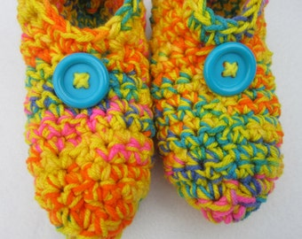 Crochet Slippers in Yellow and Bright Multicolor Size Small, Crocheted House Shoes, Yellow Slippers