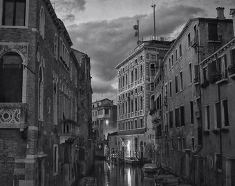 Fine Art photography, Venice, Italy, evening canal, 8x12, 8x10 black and white