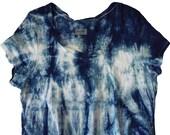 Shibori indigo XL maternity tshirt
