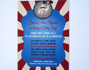 Strong Man Circus Baby Shower Invitations