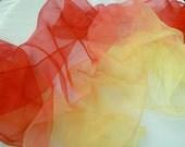 Red to yellow Silk gauze Scarf for Nuno Felting