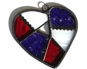 Stained glass abstract heart suncatcher, red white blue patriotic Americana patchwork  Valentines gift under 25