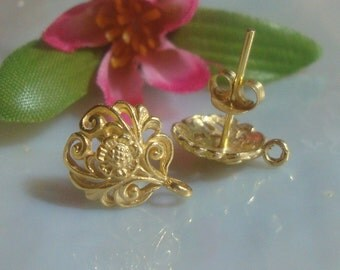 6% off 10 pairs - Best Seller, 24k Vermeil over Sterling Silver Filigree Floral Ear Post Earrings With Premium Ear Nuts 12x10 mm