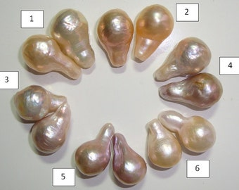 Freshwater Pearl, Fresh Water Pearl, Flameball Fireball Multi Iridescent Nucleated Bead Pearls - A pair