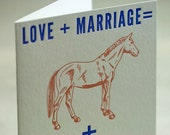 SALE - Letterpress Love and Marriage equals Horse and Carriage card - 60% off