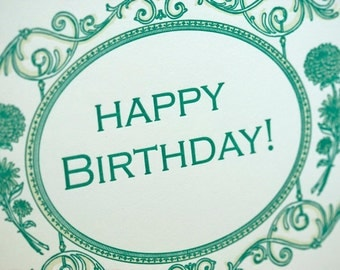 SALE - Happy Birthday Letterpress card - Ambrose - 60% off