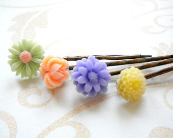 Flower Girl Bobby Pin Flower Accessories Pastel Bobby Pin Flower Girl Gift Set Pastel Hair Accessory Floral Hair Pin Children Hair Pin