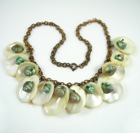 Vintage Art Deco Necklace White Teal Shell Bib Dangle Jewelry